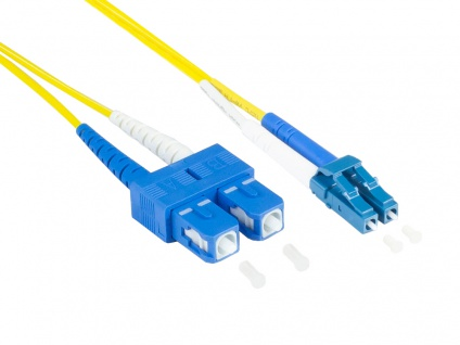 kabelmeister® Patchkabelkabel LWL Duplex OS2 (Singlemode, 9/125) LC/SC, LSZH, austauschbare Polarität, 0, 5m