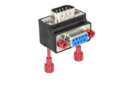 Adapter, Sub-D 9Pin Stecker an Buchse, 90____deg; gewinkelt, Schraube/Mutter tauschbar, Delock® [65593]