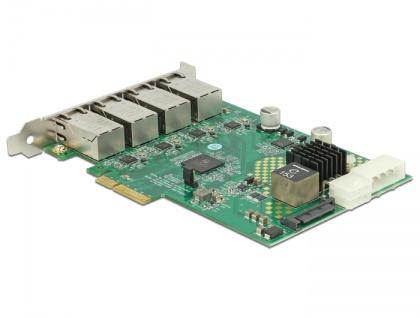 PCI Express Karte an 4x 1 Gigabit LAN PoE+ RJ45, Delock® [89559] - Vorschau