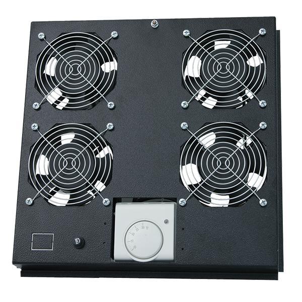 Dachlüftereinsatz für Standschrank mit 4 Lüfter, schwarz, LogiLink® [FAS122B]