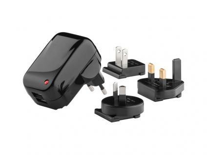 Universal Reiseadapter, USB-Ladegerät 2.100 mA mit wechselbaren Reiseladeadaptern (UK, USA, Australien)