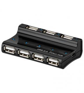 USB 2.0 Hub, 7-Port, schwarz