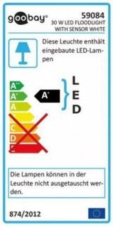 LED Außen-Flutlichtstrahler mit Bewegungsmelder, 30W, 230V, 2500 lm, 6500K, (kaltweiß), nicht dimmbar, A+