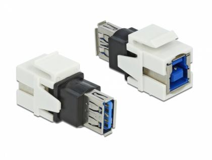 Keystone Modul USB 3.0 A Buchse an USB 3.0 B Buchse weiß, Delock® [86394]