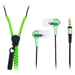 'Zipper' Stereo In-Ear Kopfhörer mit Mikrofon und Fernbedienung, Neon Grün, LogiLink® [HS0023]