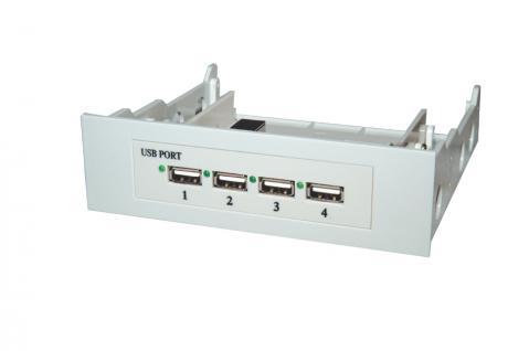 4 Port Interner USB 2.0 HUB für 3.5' oder 5 1/4' PC Gehäuse Einschub (Bay), Exsys® [EX-1164]