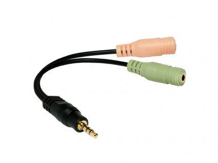 Audio Adapter 3, 5mm Klinke Stecker an 2x 3, 5mm Buchse, schwarz, 0, 15m, LogiLink® [CA0021]