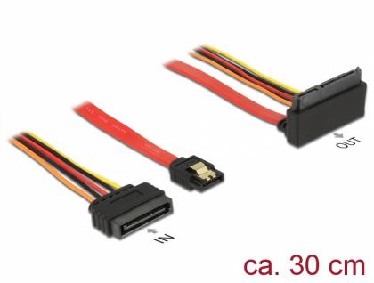 Kabel SATA 6 Gb/s 7 Pin Buchse + SATA 15 Pin Strom Stecker an SATA 22 Pin Buchse oben gewinkelt Metall, 0, 3 m, Delock® [85515]