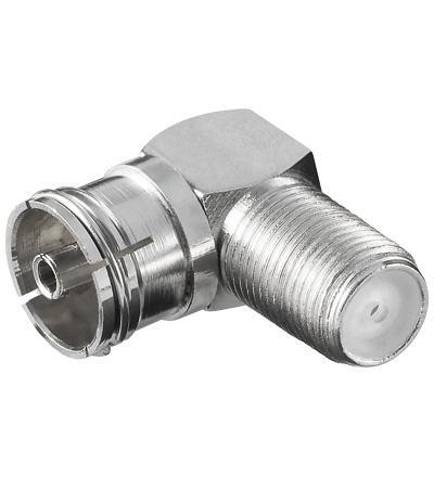 kabelmeister® Adapter F-Kupplung an Koaxial Kupplung, 90____deg; gewinkelt