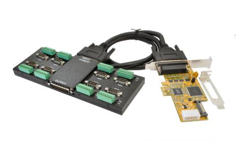 8S Seriell RS-232/422/485 PCIe Metall Modul mit PCI Adapter, 44 Pin Kabel, Wand- und Din-Rail Kit, LP Bügel, Exsys® [EX-47045E]