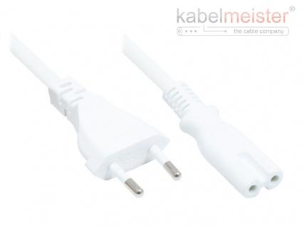 kabelmeister® Euro-Netzkabel Euro-Stecker Typ C (gerade) an C7/Euro 8 Buchse (gerade), weiß, 0, 75 mm², 2, 5 m