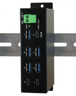 7 Port USB 3.0/ 3.1 (Gen.1) Metall HUB mit 2x Buchse C und 5x Buchse A, Upstream Buchse C, Surge Protection, Exsys® [EX-1196HMS]