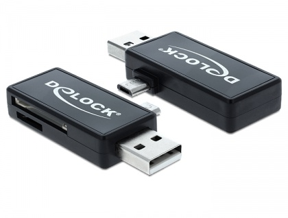 Micro USB OTG Card Reader + USB A Stecker, Delock® [91731]