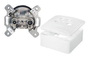 Antennendose Aufputz, Stich-/Enddose, 2dB, weiß