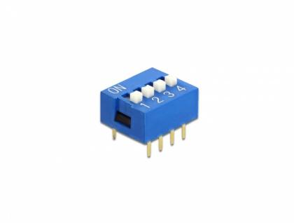 DIP-Schiebeschalter 4-stellig 2, 54 mm Rastermaß THT vertikal blau 10 Stück, Delock® [66094]