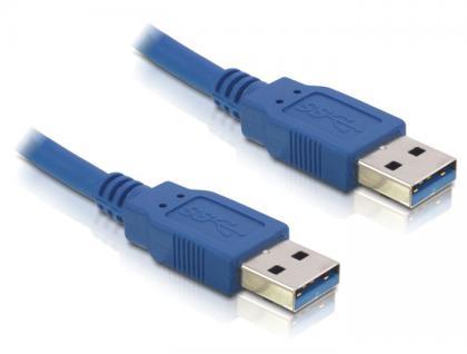 Anschlusskabel, USB 3.0 Stecker A an Stecker A, 0, 5m, blau, Delock® [83121]