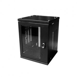 10' SOHO Wandgehäuse 4HE 312x300mm, montiert, schwarz, LogiLink® [W06Z33B]