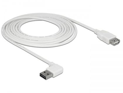 Verlängerungskabel EASY-USB 2.0 Typ-A Stecker gewinkelt links / rechts an USB 2.0 Typ-A Buchse, weiß, 3 m, Delock® [85181]