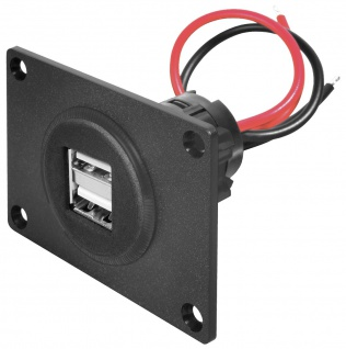 Power USB Doppelsteckdose, mit Montageplatte, ProCar®