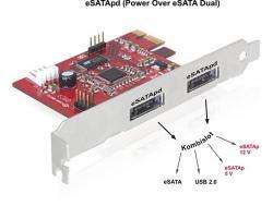 Schnittstellenkarte, PCI Express an 2x Power Over eSATA 5V/12V, Delock® [89233]