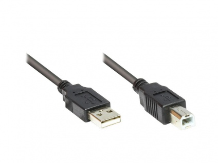 Kabelmeister® Anschlusskabel USB 2.0 Stecker A an Stecker B, schwarz, 0, 5m