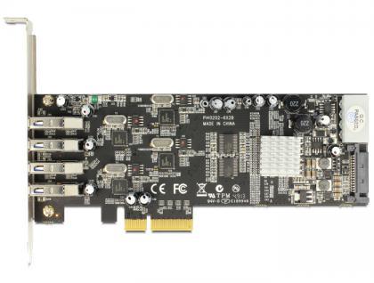 PCI Express x4 Karte an 4 x extern USB 3.0 Quad Channel, Delock® [89365]