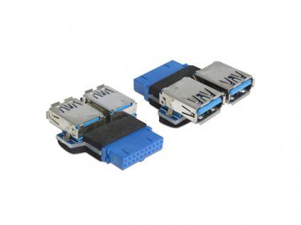 Adapter, USB 3.0 Pin Header Buchse an 2x USB 3.0 Buchse nebeneinander, Delock® [65324]