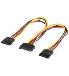 kabelmeister® SATA Y-Stromkabel, SATA Stecker an 2x SATA Buchse
