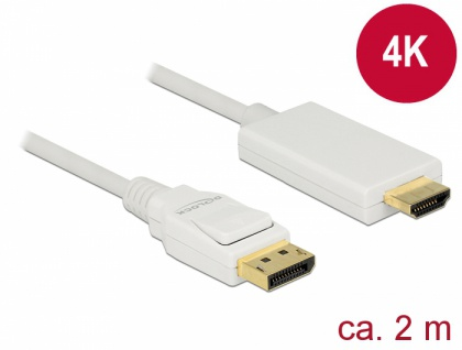 Kabel Displayport 1.2 Stecker an High Speed HDMI-A Stecker, passiv, 4K, weiß, 2m, Delock® [83818]