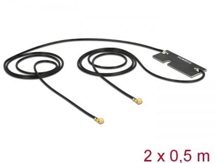 WLAN Doppelantenne MHF/U.FL-LP-068 kompatibler Stecker 802.11 ac/a/h/b/g/n 3 - 5 dBi 2x 500 mm PCB intern Klebemontage, Delock® [89450]