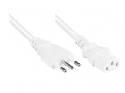 Kabelmeister® Netzkabel Italien Typ L (CEI 23-16-VII) an C13 (gerade), weiß, 0, 75 mm², 1, 8 m
