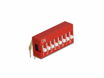 DIP-Schiebeschalter 8-stellig 2, 54 mm Rastermaß THT gewinkelt rot 5 Stück, Delock® [66159]