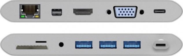 USB-C™ Multiport Adapter, ALU, USB-C™ an HDMI, VGA , Mini DisplayPort, RJ45, 3, 5mm Klinke, 3x USB 3.0 A Buchse, Micro SD Card Reader, 1x USB C™ Buchse