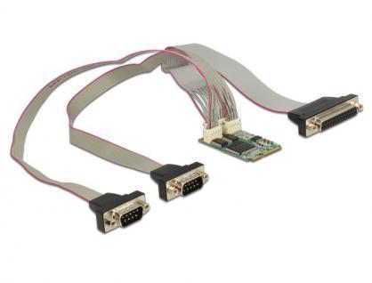 MiniPCI Express I/O PCIe full size RS-232 2x DB9 Stecker + Parallel 1 Port, Delock® [95246]
