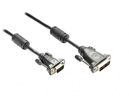 kabelmeister® Anschlusskabel DVI-I 18+5 Stecker an 15pol VGA Stecker, schwarz, 1, 8m