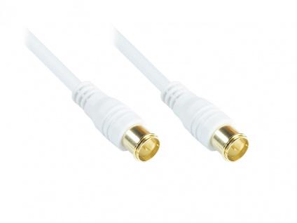F-Quick SAT Antennenkabel, F-Quick Stecker beidseitig (vergoldet), 2x geschirmt (80 dB / 75 Ohm), CCS, weiß, 1, 5m, Good Connections®
