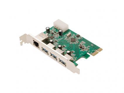 PCI Express Karte, Gigabit LAN + 3x USB 3.0, LogiLink® [PC0074]