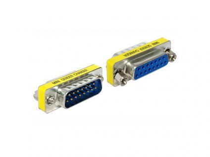 Adapter Sub-D 15 Pin Stecker an Sub-D 15 Pin Buchse, Portschoner, Delock® [65481]