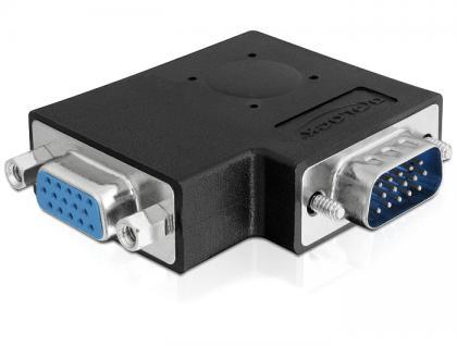 Adapter, VGA Stecker an Buchse, 90____deg; seitlich gewinkelt, Delock® [65345]