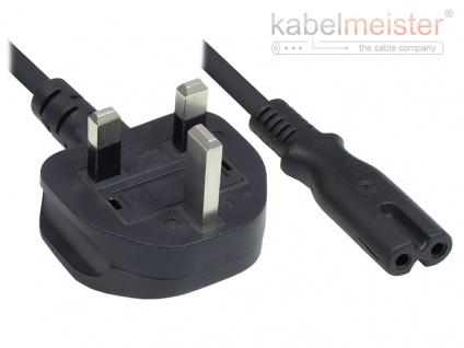 kabelmeister® Netzkabel England/UK Netz-Stecker Typ G (BS 1363) an C7/Euro 8 Buchse (gerade), 3A, ASTA, schwarz, 0, 75 mm², 1, 8 m