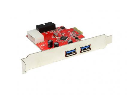 PCI-Express Karte, 2x USB 3.0, extern, 1x USB 3.0 intern, 19 PIN Port