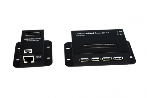USB 2.0 Cat.5/6 Extender bis 50 Meter, 4-Port, ohne Treiber und Software (Metall-Gehäuse), Exsys® [EX-1446]