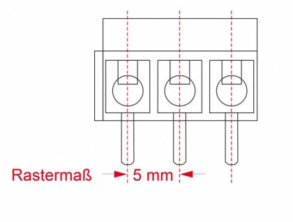 Terminalblock für, Platine, Lötversion, 3-Pin, 5, 00mm, Rastermaß vertikal, 10 Stück, Delock® [66018]