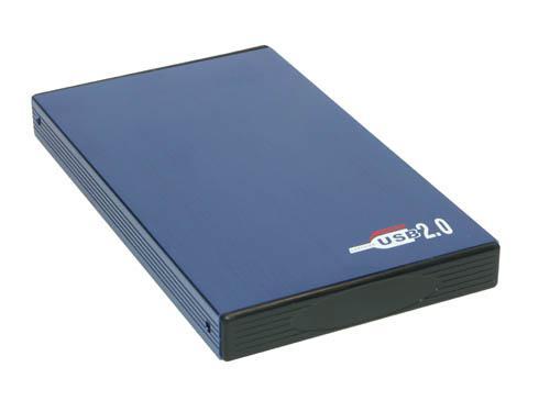 Externes USB 2.0 IDE Alu-Gehäuse für 2, 5' Festplatten, blau
