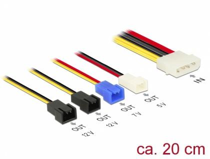 Kabel Stromversorgung Molex 4 Pin Stecker an 4x 2 Pin Lüfter (12 V / 7 V / 5 V), 0, 2 m, Delock® [85516]
