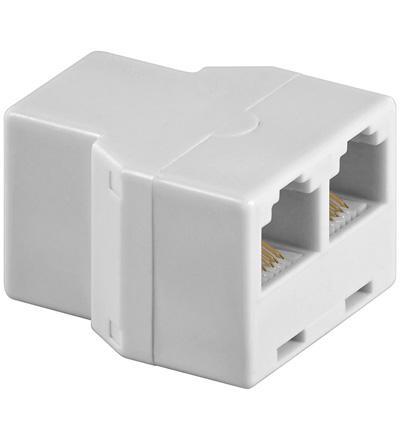 kabelmeister® Telefon Adapter RJ12/6P6C 1xF-Buchse 2xF-Buchse, weiß