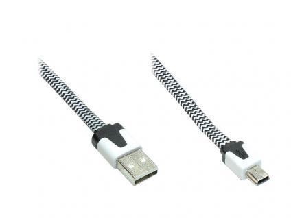 Anschlusskabel USB 2.0 Stecker A an Stecker Mini B 5-pin, Flachkabel, Textil, schwarz/weiß, 2m, Good Connections®