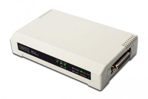 GUSB & Parallel Print Server, 3-Port, 1x RJ45, 2x USB A, 1x DB-36-pin male Centronics For all common O/S Digitus® [DN-13006-1]