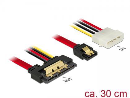 Kabel SATA 6 Gb/s 7 Pin Buchse + Molex 4 Pin Strom Stecker an SATA 22 Pin Buchse gerade Metall, 0, 3m, Delock® [85230]