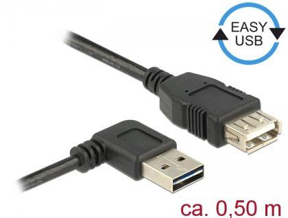 Verlängerungskabel EASY-USB 2.0 Typ-A Stecker gewinkelt links / rechts an USB 2.0 Typ-A Buchse, schwarz, 0, 5 m, Delock® [85177]